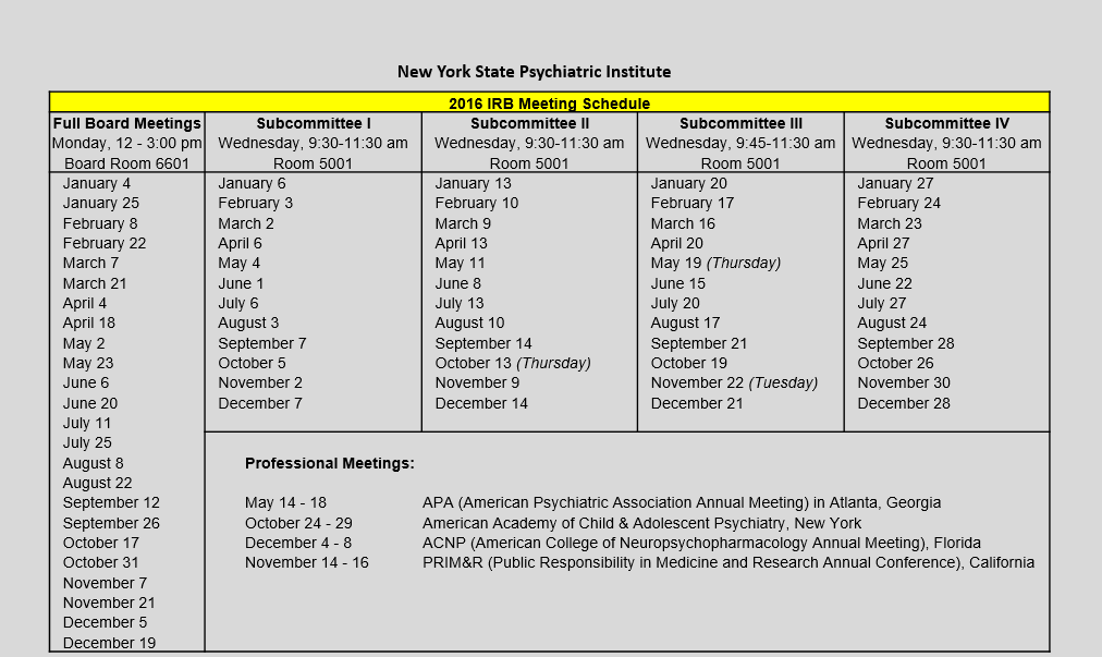 IRB Meeting Schedules | New York State Psychiatric Institute